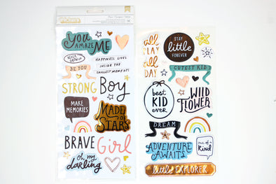 Crate Paper Magical Forest 6x12 Brave Phrase & Icon Thickers