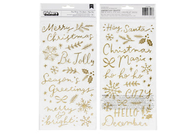 "Crate Paper Hey, Santa! ""Very Merry"" Gold Puffy Phrase Thickers"