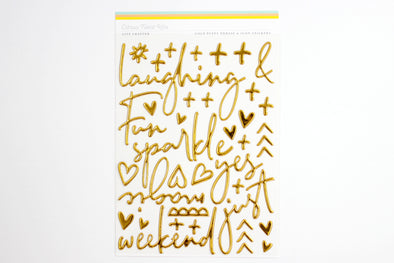 "Citrus Twist ""Night & Day"" Gold Puffy Words & Icons Stickers"