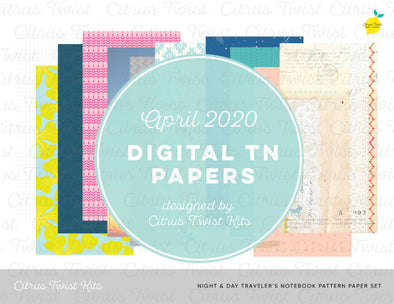 Night & Day Notebook Digital TN Pattern Papers - April 2020