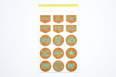 "Citrus Twist February 2021 ""Turquoise Words & Icons"" Cork Stickers"