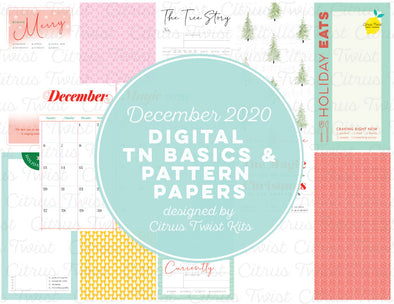Life Crafted - COMFORT & JOY Traveler's Notebook Basics & Patterns Digital Papers - December 2020