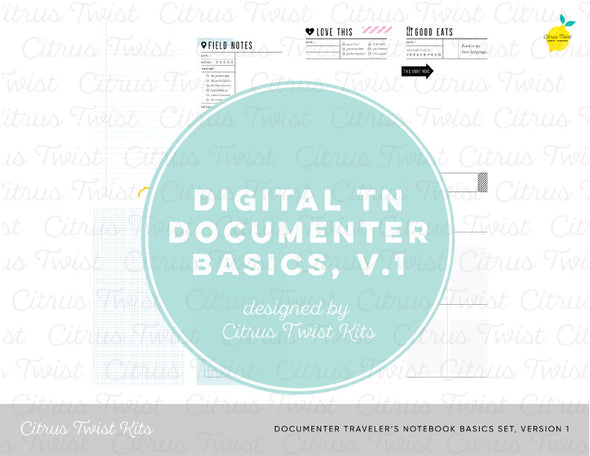 Documenter Traveler's Notebook Basics, Version 1, Digital Papers