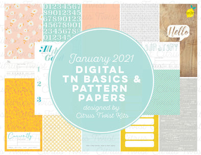 Life Crafted - NEW STARTS Traveler's Notebook Basics & Patterns Digital Papers - January 2021
