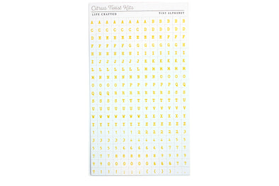 Citrus Twist WILD AT HEART Yellow on White Tiny Alphabet Stickers