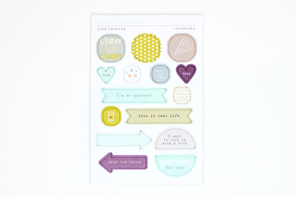 Citrus Twist CRAVINGS Chipboard Stickers