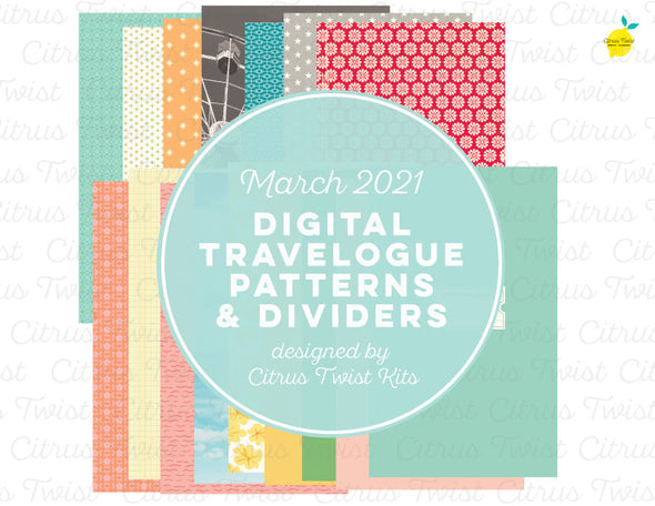 "Life Crafted - TRAVELOGUE 5'x8.25"" Solids & Patterns Digital Papers - March 2021"