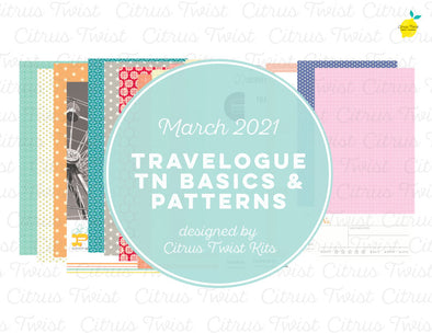 Life Crafted - TRAVELOGUE Traveler's Notebook Basics & Patterns Digital Papers - March 2021