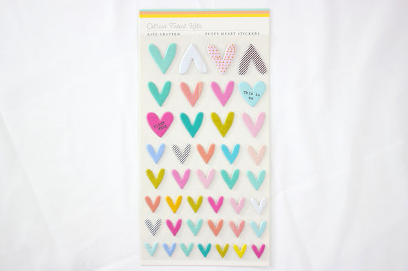 "Citrus Twist March 2020 ""Weekender"" Puffy Heart Stickers"