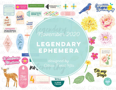 Printable - LEGENDARY Ephemera Elements - November 2020