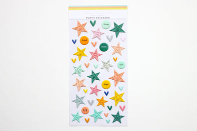 Citrus Twist Puffy Stars, Circles & Hearts Stickers