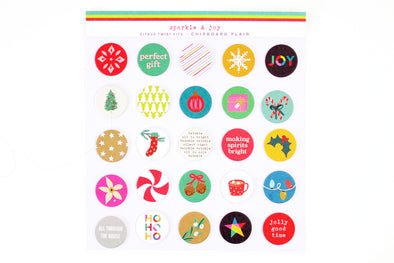 Citrus Twist SPARKLE & JOY Chipboard Flair Stickers