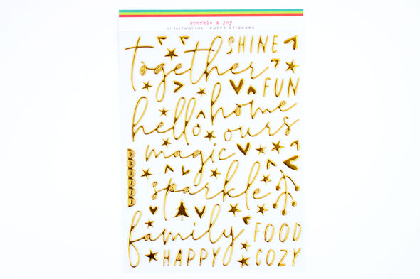 Citrus Twist SPARKLE & JOY Gold Puffy Words & Icons Stickers
