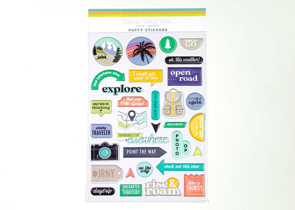NEW! Citrus Twist TRAVELOGUE Puffy Stickers