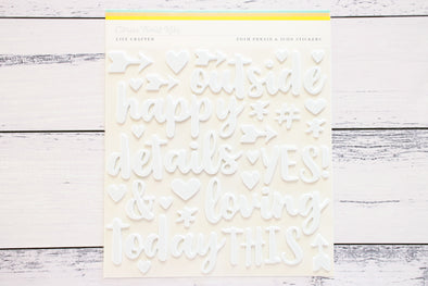 Citrus Twist White Foam Phrase & Icon Stickers