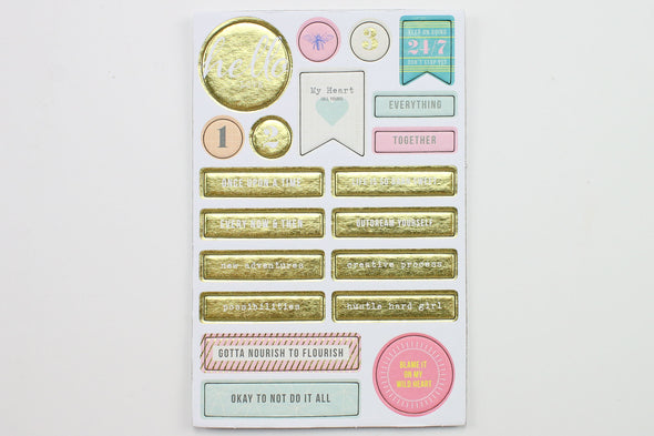 Citrus Twist Fresh Starts Chipboard Stickers with Gold Foil