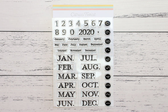 "Citrus Twist 4"" x 6"" Typewriter Month & Number Stamp"