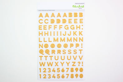 New! Citrus Twist Mustard Puffy Alphabet Stickers