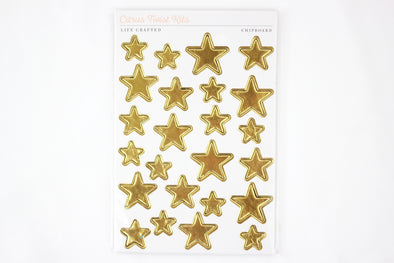 Citrus Twist Hustle & Heart Metallic Gold Chipboard Star Stickers