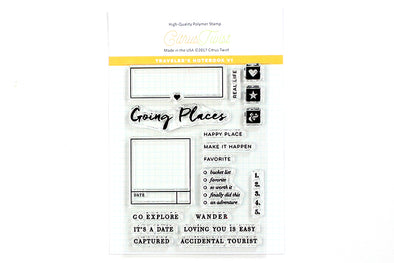 "Citrus Twist ""Going Places"" Travelers Notebook Stamp"