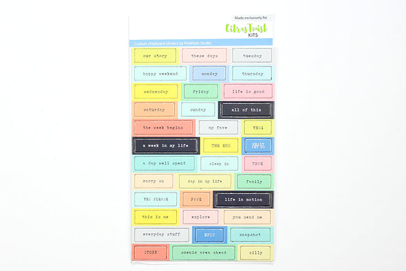 Citrus Twist Twin Falls Chipboard Word Stickers