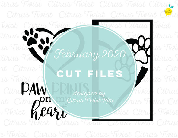 Cut file - PAW PRINTS ON MY HEART - February 2020