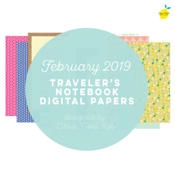 Love Stories Traveler's Notebook Digital Papers - February 2019