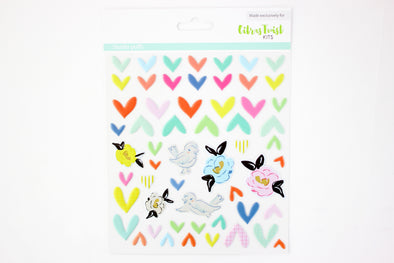 "Citrus Twist ""WHIMSICAL HEARTS"" Puffy Stickers"
