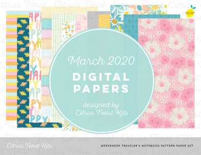 Weekender Notebook Digital Papers - March 2020