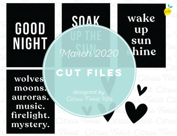 March 2020 - PLACEMAT WORDS - Cut File