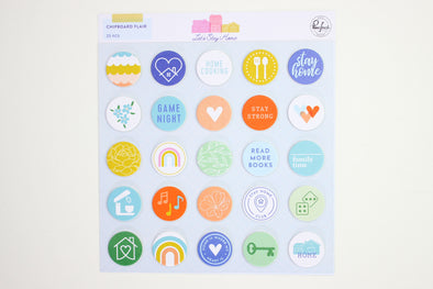 Pinkfresh LET'S STAY HOME Chipboard Flair Stickers