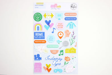 Pinkfresh LET'S STAY HOME Puffy Stickers