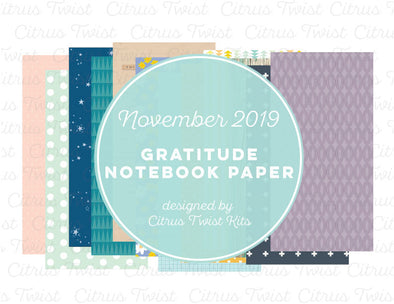 Gratitude Notebook Digital Papers - November 2019