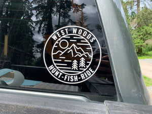 """Hunt Fish Ride"" 5 inch window decal"