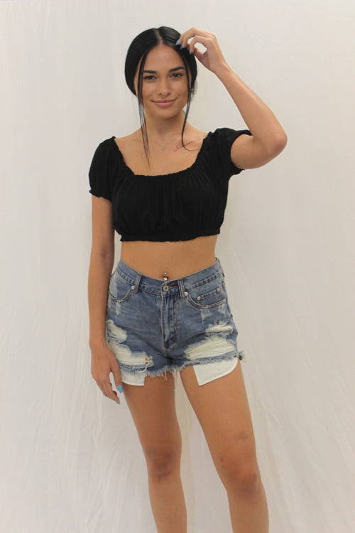 Cece distressed shorts