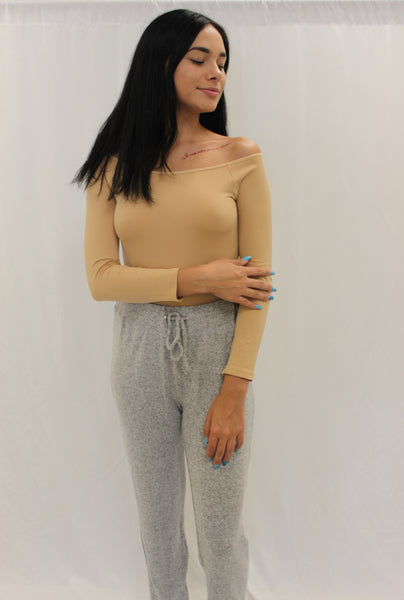 Off shoulder bodysuit (beige)