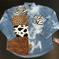 "AYV Articles: ""Call of the Wild"" Distressed Light Denim Shirt"