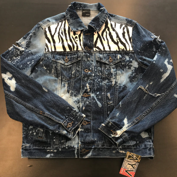 "AYV Articles Distressed Denim ""Zebra"" Jacket M"