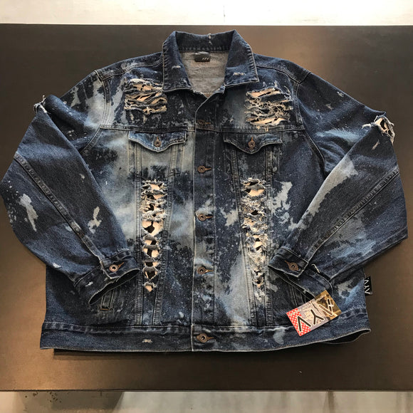 "AYV Articles Distressed Denim ""Zebra"" Jacket 2x"