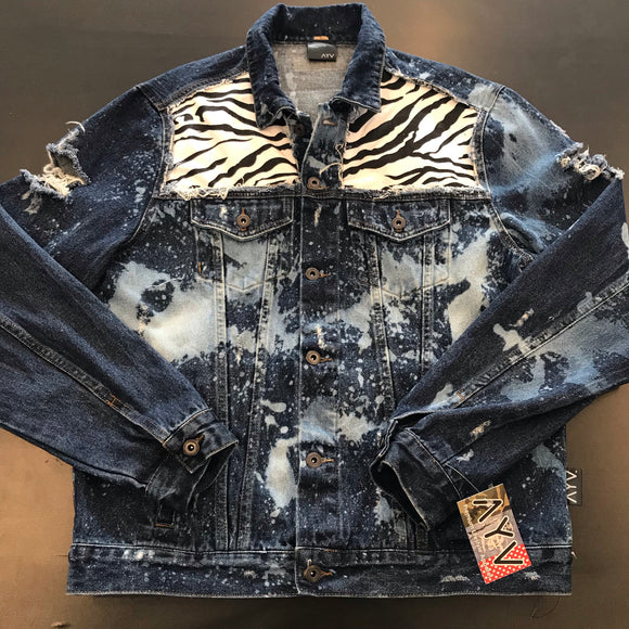 "AYV Articles Distressed Denim ""Zebra"" Jacket L"