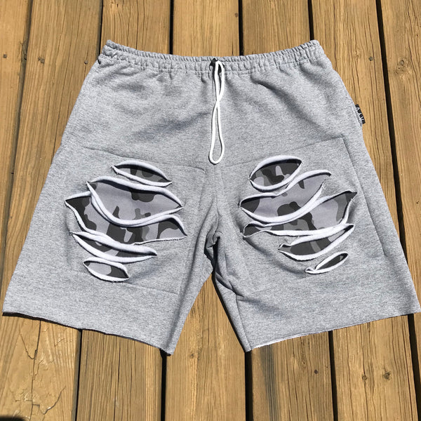 "Grey ""Smoke"" Camo Cut Offs"
