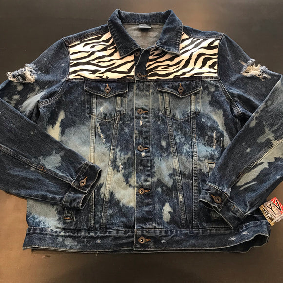 "AYV Articles Distressed Denim ""Zebra"" Jacket XL"