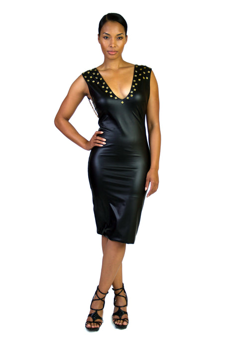 Faux Stretch Low Back Bodycon Dress With Spike Studs And Draped Chains