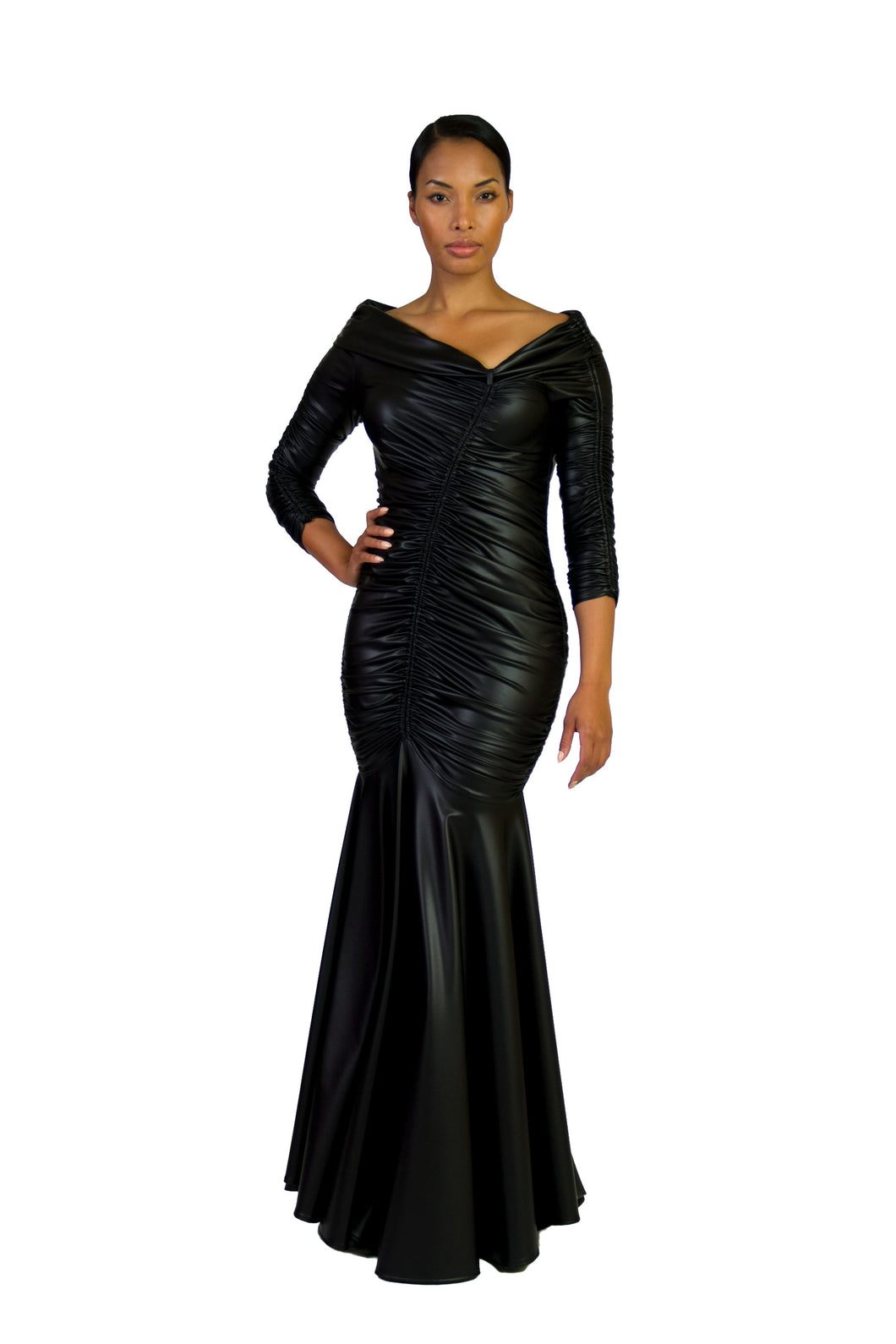 Black Faux Leather Off The Shoulder Shirred Evening Gown