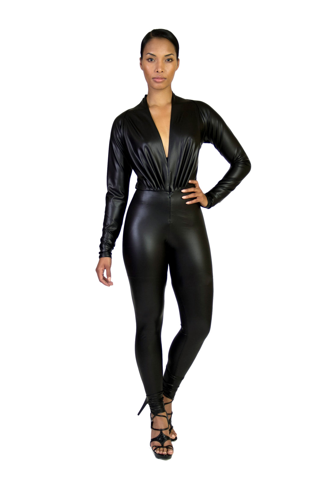 Black Faux Dolman Sleeved Body Con Jumpsuit