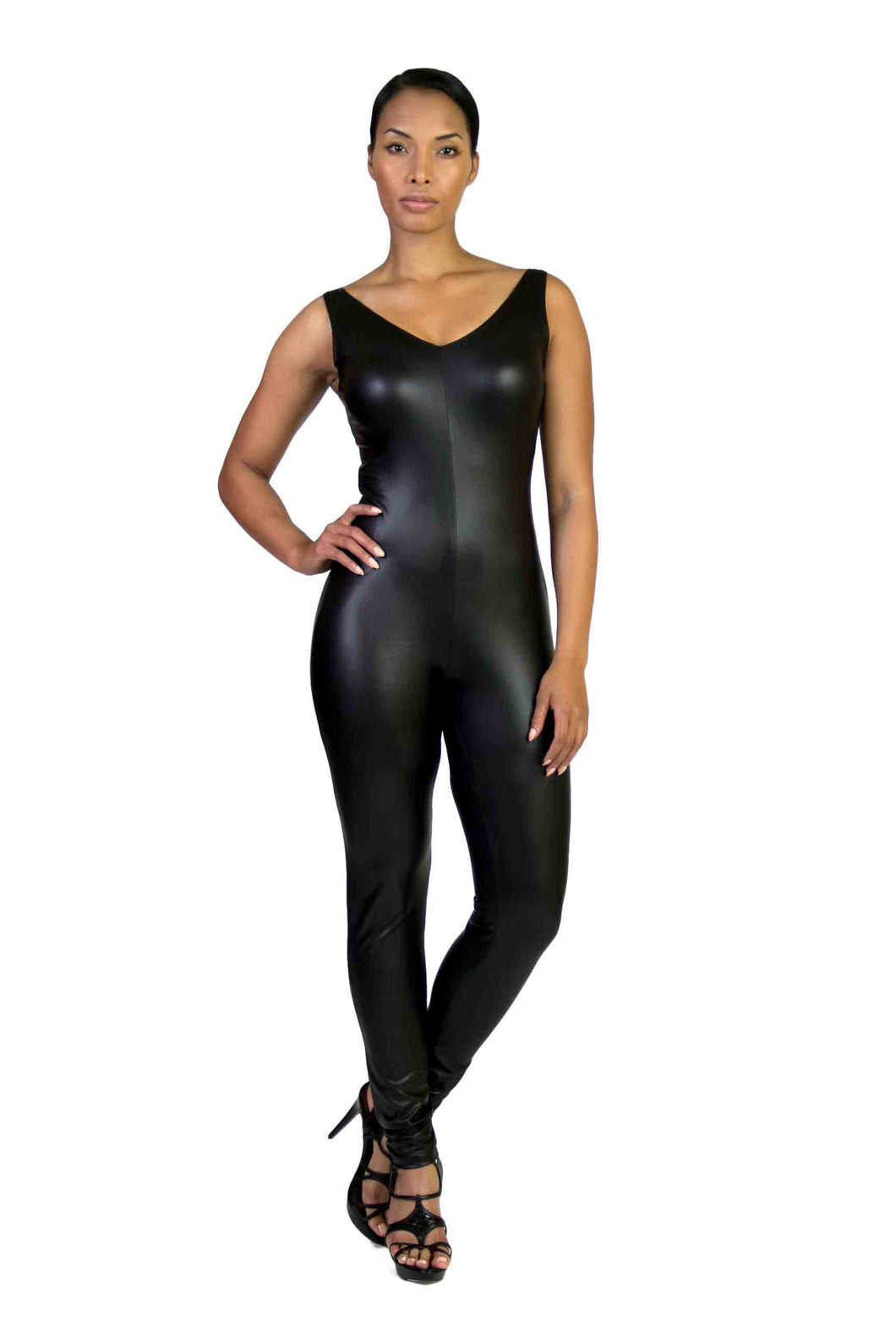 Black Faux V Kneck Bodycon Jumpsuit