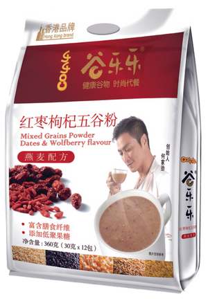 谷乐乐红枣枸杞五谷粉(袋装)Multigrain Cereal Red Dates & Wolfberry Powder (360g)