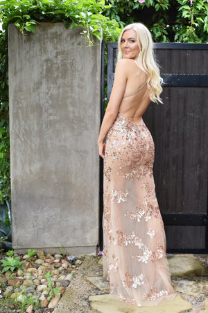 sheer sexy lace prom dress