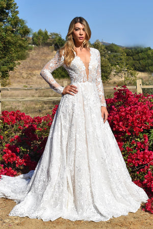 Adrienne long sleeve lace bridal gown