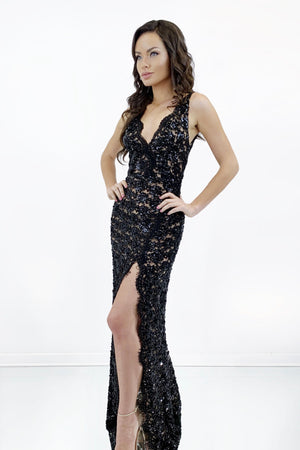 rene the label Arianna gown black lace sheer dress